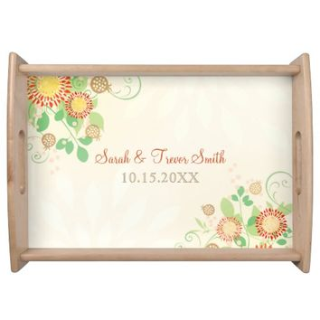 Custom Modern Peach Floral Wedding Serving Tray
