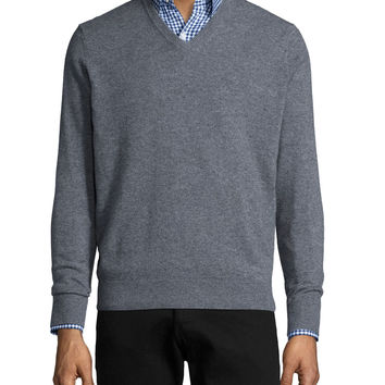 Cashmere V-Neck Sweater, Gray, Size:
