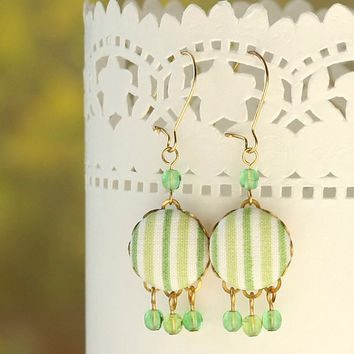 Dangle Earrings - Fresh Green - Green and White Stripes Fabric Covered Buttons Earrings with Czech Glass Beads
