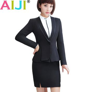 AIJI 2pieces/set black soft slim solid blazer with pants skirt suits office lady business uniform style women formal work wear
