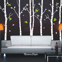 6 Birch Tree with Flying Birds and Vinyl Wall by NatureStyle