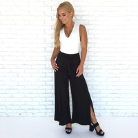 Overlap Office Jersey Pants In Black