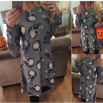 Long Sleeve Winter Ugly Christmas Fashion Costume Cartoons Print One Piece Dress [9475940868]