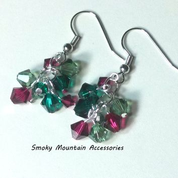 Emerald Siam and Erinite Swarovski Crystal Cluster Earrings