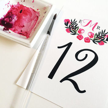 "Watercolor Wedding Table Number - Monogram Wedding Reception Table Number Cards ""Floral Monogram"" Bridal Shower Table Number Card"