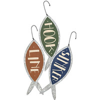 Hook, Line and Sinker - Metal Fishing Ornaments - Set of 3 - Lake House Beach Cabin