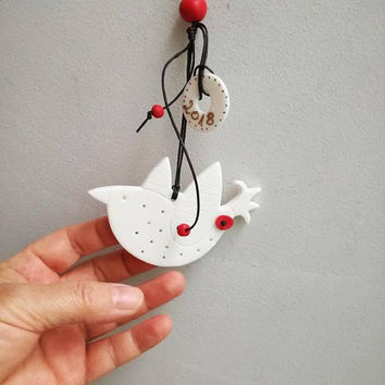 White bird ornament, Xmas tree porcelain bird ornament with 2018 New Year charm, modern bird ornament, πουλί πορσελάνινο με γούρι 2018