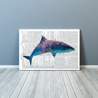 Shark poster Colorful decor Animal art Nautical print TO173-2