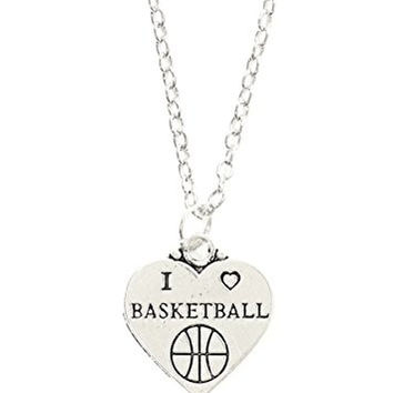 I Heart Basketball Necklace Athletic Ball Charm Sports Pendant NT67 Silver Tone Fashion Jewelry