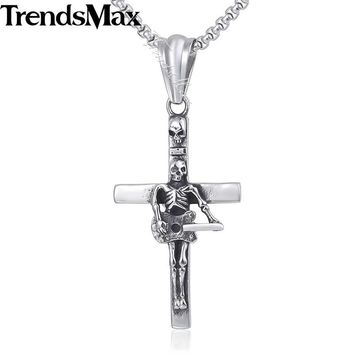 Guitar Skull Cross Pendant Necklace Gothic Chain 316L Stainless Steel Box Link Silver 18-36inch