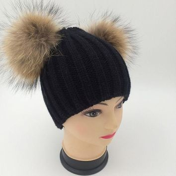 Double Real Raccoon Fur Hat Pom Poms Winter Hat Women Wool Knit Beanie Bobble Ski Cap Pompom Beanies Gorros Thick Female Caps W0