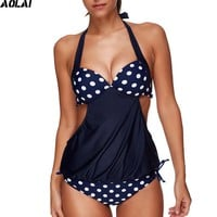 2017 New Push Up Tankini Plus Size Bikini Set Crop Top Swimwear Women Dot  Swimsuit Striped Bathing Suit Maillot De Bain Femme