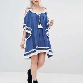Raga Desert Sand Cold Shoulder Tunic Dress at asos.com