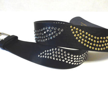Black Leather Belt Wide Silver Gold Rivets Studs Cosplay Warrior Large