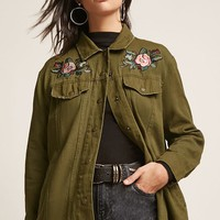 Floral Embroidered Raw-Cut Denim Jacket