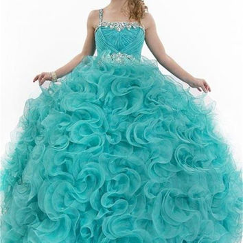 2016 New Real Pictures Aqua Blue Flower Girl Dresses Long Pageant Dresses Puffy Dresses Little Girls Ball Gowns 160526005