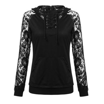 2016 Autumn Women Sweatshirts Lace Hoody Pullover Casual Solid Cotton Long Sleeve Hoodies Blusas Sports Outwear Tops Plus Size