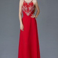 G2027 High Neck Jeweled Chiffon Prom Dress Evening Gown