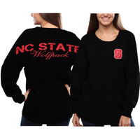 NC State Wolfpack Women's Pom Pom Jersey Oversized Long Sleeve T-Shirt - Black