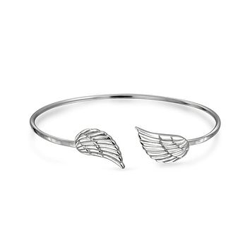Thin Angel Wing Feather Bangle Cuff Bracelet High 925 Sterling Silver