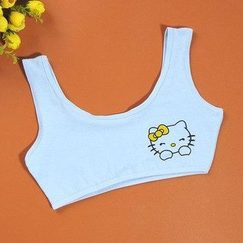 Girls Bras Sports Bra Vest Young Girl Underwear No Rim Students Bra Solid Underwear Cotton Vest Children Clothing