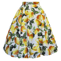 Lemon Fruit Print Swing Skirt
