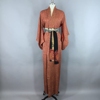 Vintage 1950s Silk Kimono Robe / Silk Robe / 50s Wedding Dressing Gown / 1950 Lingerie / Downton Art Deco / Brown Floral Print