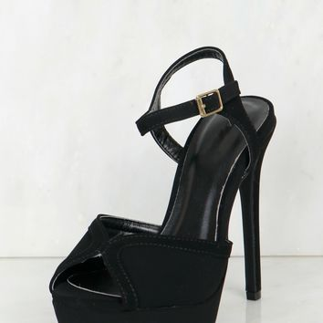 High Heel Platform Sandals Black Nubuck