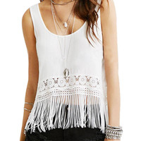 White Tassel Lace Top