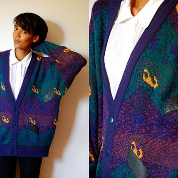 Vtg Leather Patched Green Purple Navy Button Down Grandpa Sweater