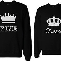 King and Queen Couple SweatShirts Cute Matching Outfit for Couples