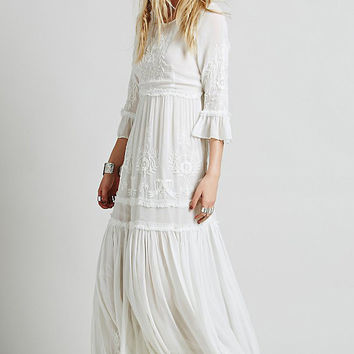 White Boho Embroidered Midi Dress