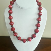Red and Brown Beaded Necklace
