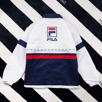 KUYOU FILA Tri-color splicing retro windbreaker jacket ️ spring thin coat