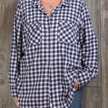 Nice Eddie Bauer 3x size Flannel Shirt Womens Navy Blue Check Soft Cotton