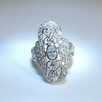 Sterling Silver Crystal Victorian Style Ring sz 6 1/2