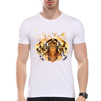 Men's Wild Animal Style Watercolor Tiger Eye Print T-Shirt Men Summer Modal Hipster Tees