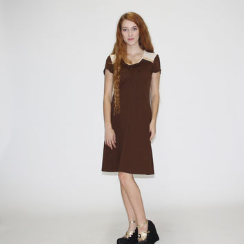 1970s Vintage Brown Peasant Hippie Dress