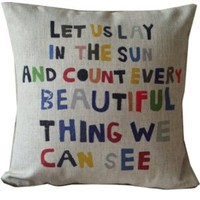 Urparcel Meaningful Quotes Colorful Letters Throw Pillow Case Decor Cushion Covers Square 18*18 Inch Beige Cotton Blend Linen