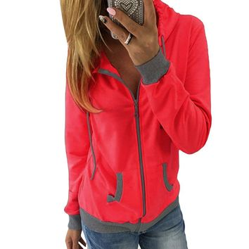 Women's christmas Winter Hoodie Sweatshirt Jumper Hooded Pullover Top zipper hooded long-sleeved coat 2017