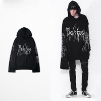 2017 Newest Fashion Double Cuff Hoodie OVERSIZE Long Sleeve Sweatshirt Gothic Hiphop Design Men Hoodies Pullovers