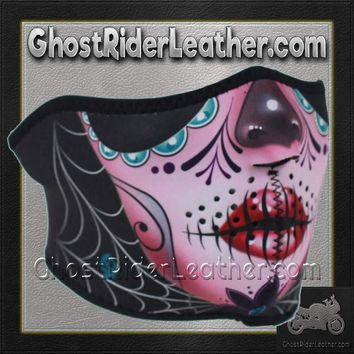 Half Mask Made of Neoprene Sugar Skull Design / SKU GRL-FMS11-WNFM082H