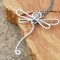 Dragonfly Necklace. Silver. Aluminum. Wire Wrapped.  Wire Jewelry