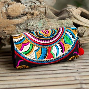 Beautiful Fair Trade Boho Wallet, Women Purse with Hmong Hill Tribe Embroidered, Pom Pom Zip Pull - WA301SNBLABeautiful Fair Trade Boho Wallet, Women Purse with Hmong Hill Tribe Embroidered, Pom Pom Zip Pull - WA301SNBLA