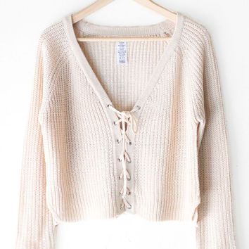 Lace Up Knit Cropped Sweater