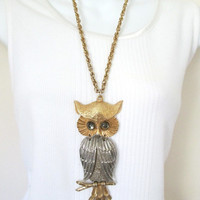Necklace Large Owl Pendant Hinged Cabachon Eyes Signed Silvertone and Goldtone