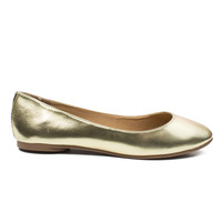 Kreme Gold by Soda, Gold round toe extra cushioned insole slip on comfort dress flats