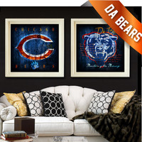 Chicago Bears Retro City Maps - 2 Combo Prints - Monsters of the Midway & Da Bears - Perfect Christmas, Birthday or Anniversary Gift