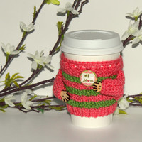 Mothers Day coffee cozy. Cup sleeve. Hand knitted travel mug cozy Number one mom Mother's day gift Coral green. Spring. Starbucks cup sleeve