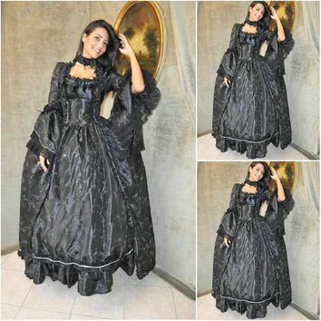 Customer-made Black Cosplay Renaissance Dress Victorian Costumes Civil war Dress Steampunk dress Gothic Halloween Dress C-661